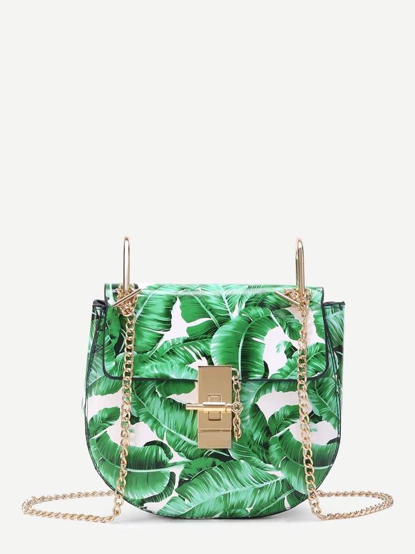 65702faa97519 Leaf Print Flap Saddle PU Bag With Chain | SHEIN