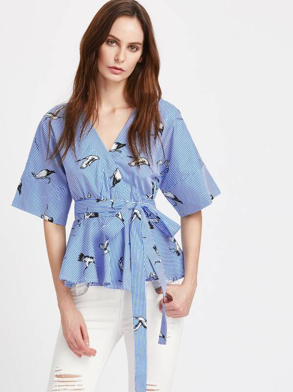 3baa5aacec1e7 Cheap Cranes Print Surplice Front Striped Peplum Kimono Top for sale  Australia