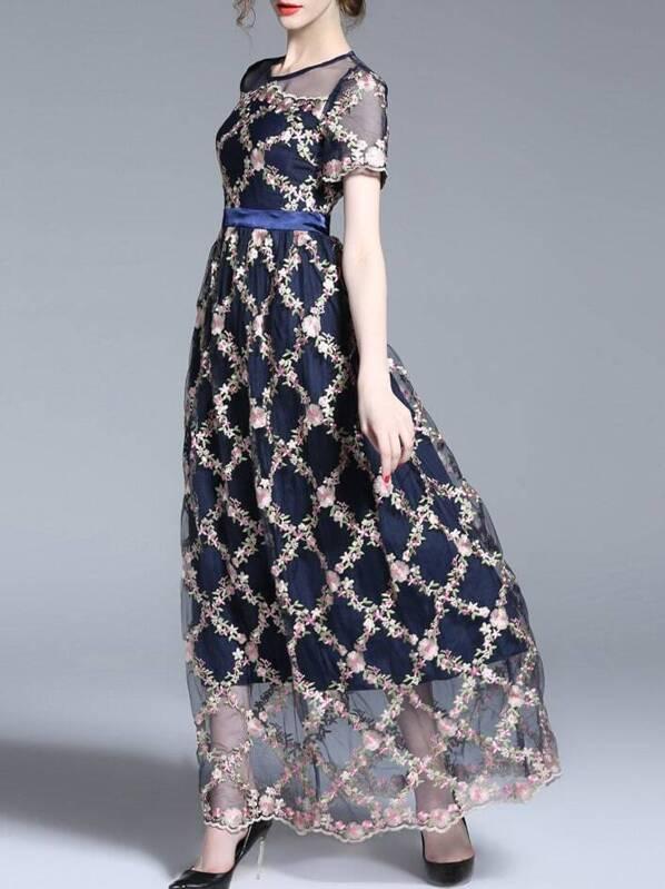 fda936a971 Gauze Flowers Embroidered Sheer Maxi Dress | SHEIN UK