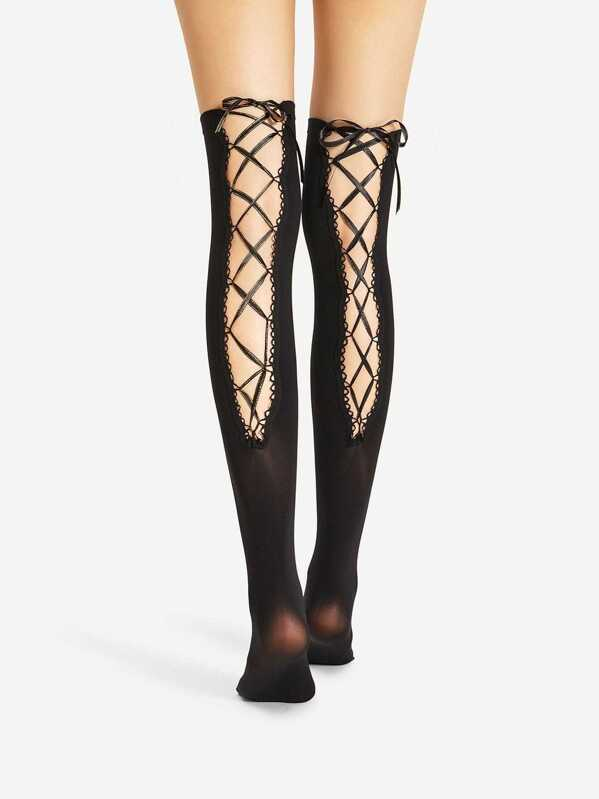 54708b2909 Lace Up Over The Knee Socks | SHEIN IN