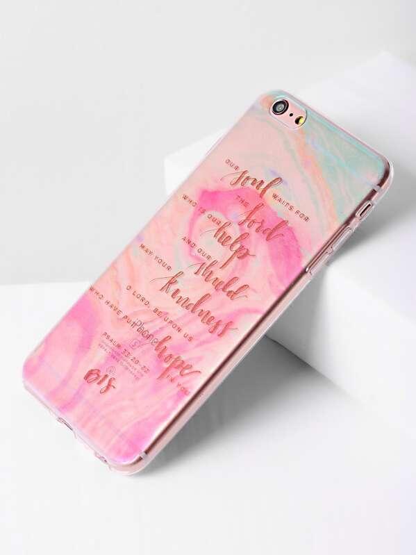 e01284e094 Watercolor Slogan Print Clear iPhone 6 Plus/6s Plus Case -SheIn(Sheinside)