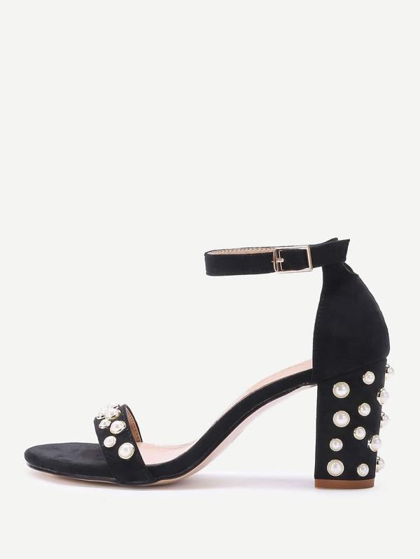 Print Faux Pearls Chunky Heel Sandals - Black - 38