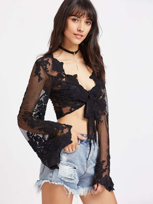 21db0782ac4 Plunging Tie Front Trumpet Sleeve Floral Lace Top | SHEIN