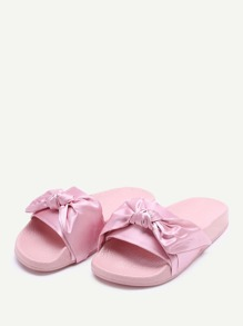 b772e077bb2601 Bow Tie Design Satin Slides -SheIn(Sheinside)