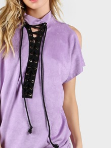 Purple High Neck Open Shoulder Lace Up Front Tee Dress pictures