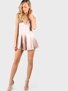 Lace Detail Button Front Cami Satin Romper pictures