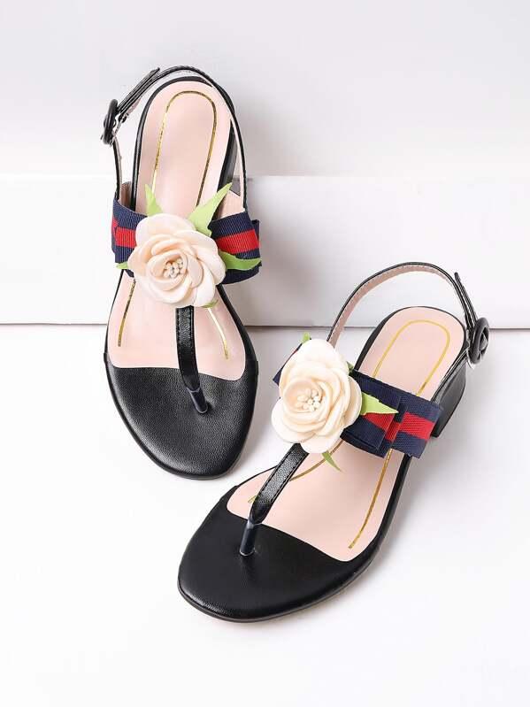57b186430b27f Flower Embellished Thong Falt Sandals -SHEIN(SHEINSIDE)