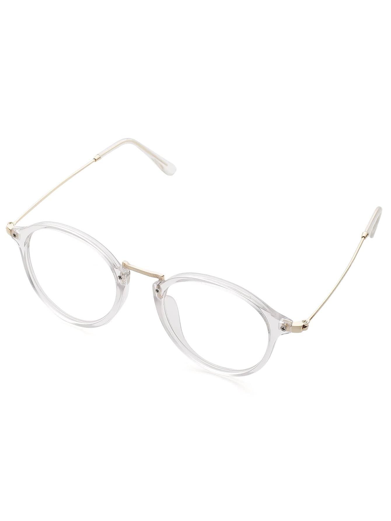Best Metal Frame Glasses : Transparent Frame Metal Top Bar Glasses -SheIn(Sheinside)