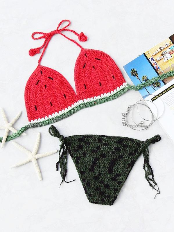 94a712cf1b Motif Pastèque Crochet Tie Side Bikini Triangle | SHEIN