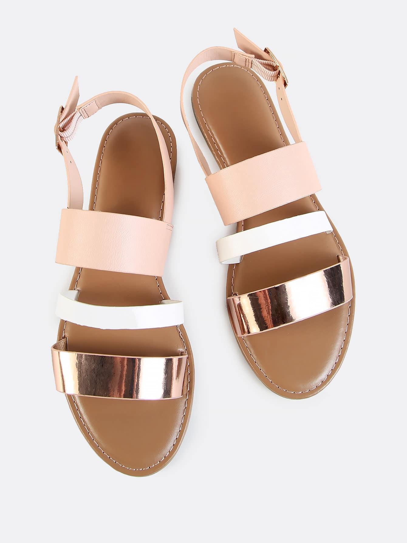 sling back triple band sandals rose gold multi shein sheinside. Black Bedroom Furniture Sets. Home Design Ideas
