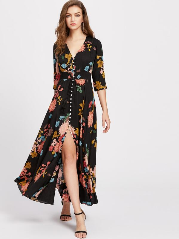 5bbfd99f37d9e Smocked Waist Tassel Tie Button Through Floral Dress | SHEIN UK