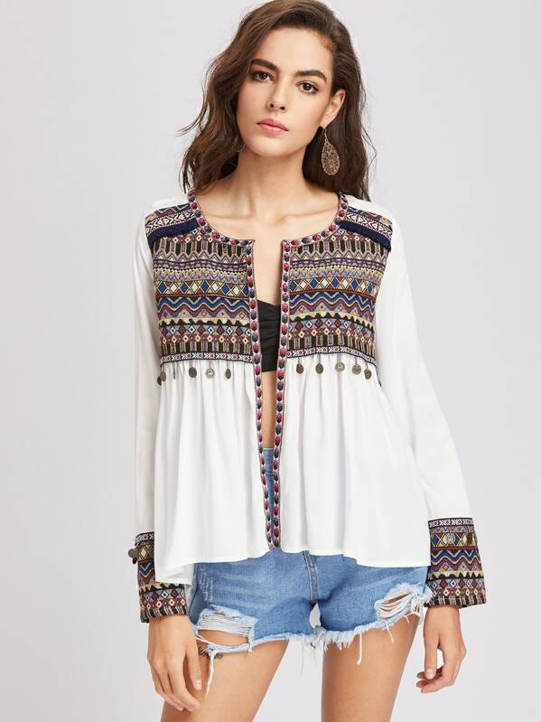 c66b3f2d6f Embroidered Yoke And Cuff Coin Fringe Trim Blouse   SHEIN IN
