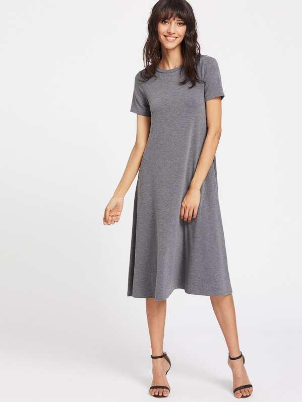 27f77db3e17cb Heather Knit Swing Tee Dress | SHEIN