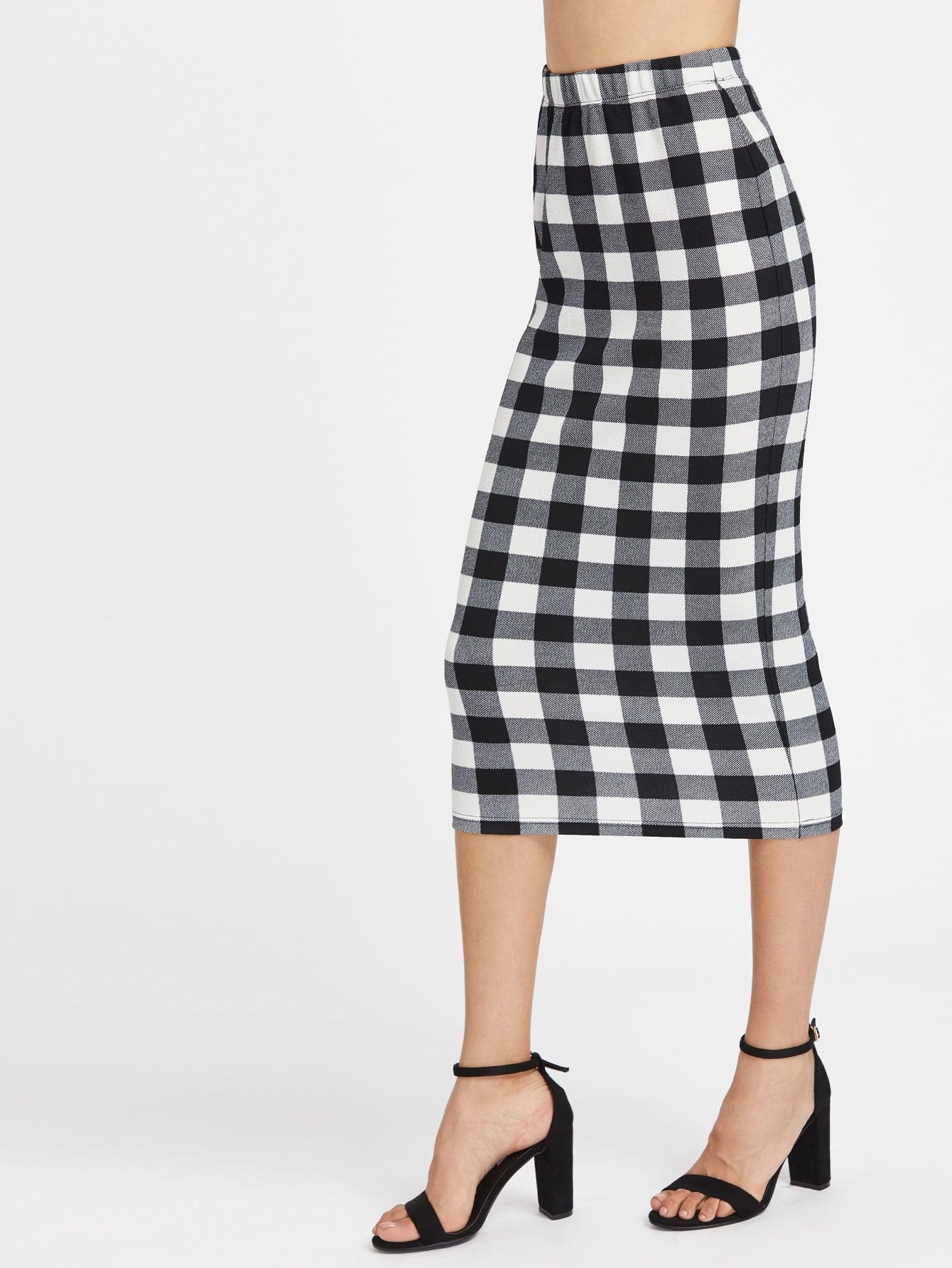 elasticized waist checkered midi pencil skirt shein