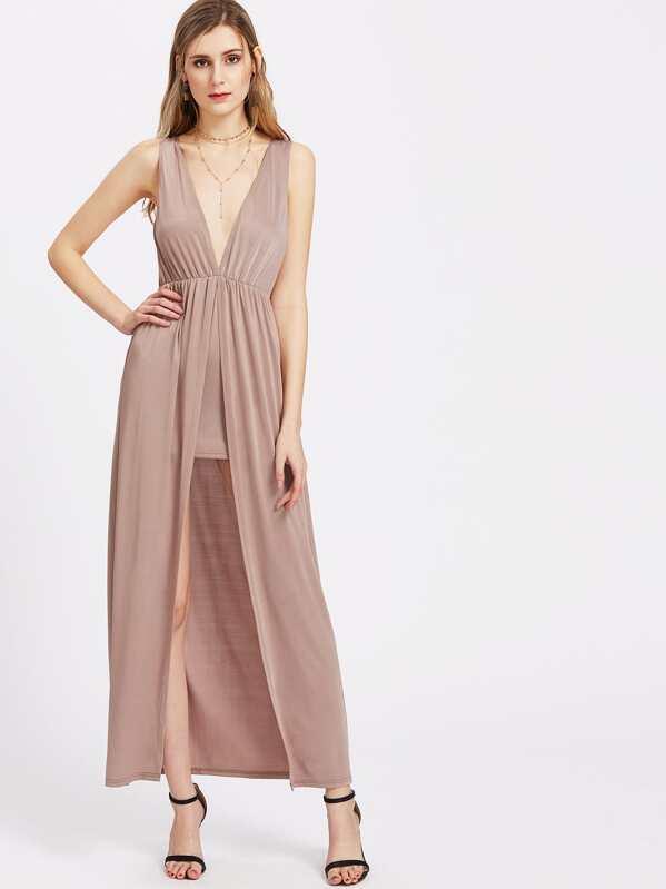 d586040d4c Plunge Neck Crisscross Back Slit High Low Dress -SHEIN(SHEINSIDE)
