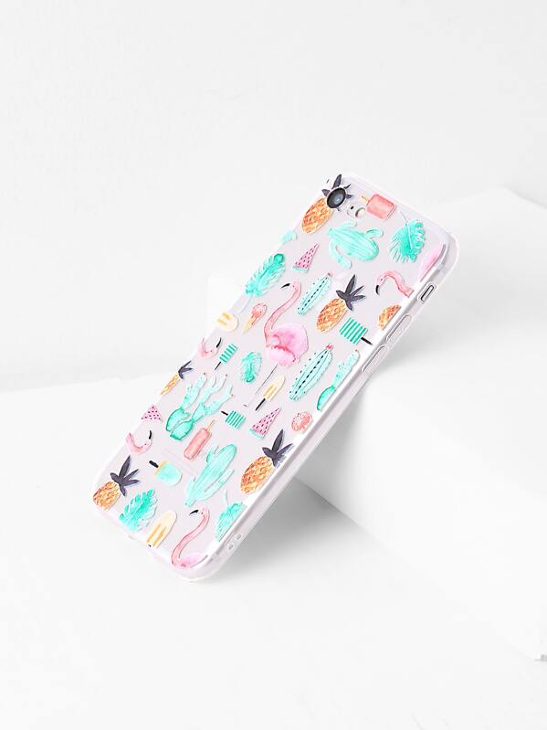 Flamingo And Plant Print iPhone 7 Case