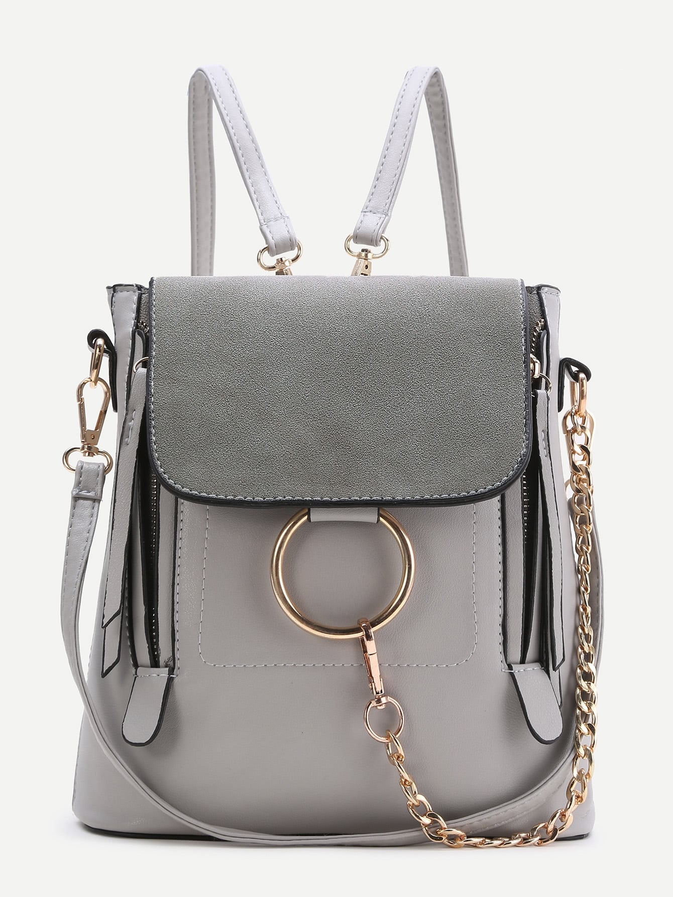 grey backpack with gold details