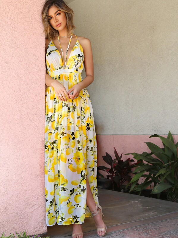 6a7c572776f1 Lemon Print Chiffon Maxi Dress IVORY   SHEIN UK