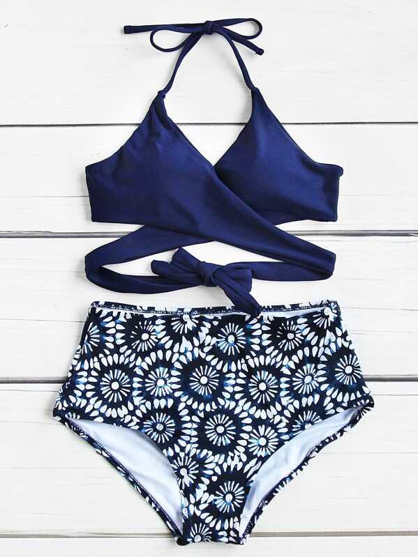 52753aa6f2 Calico Print Wrap High Waist Bikini Set | SHEIN