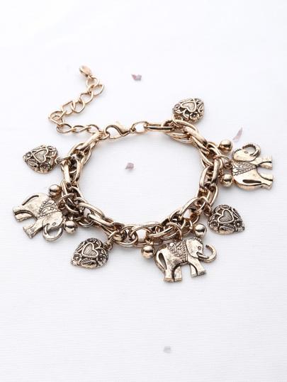 4806553337 Elephant And Heart Shaped Charm Bracelet