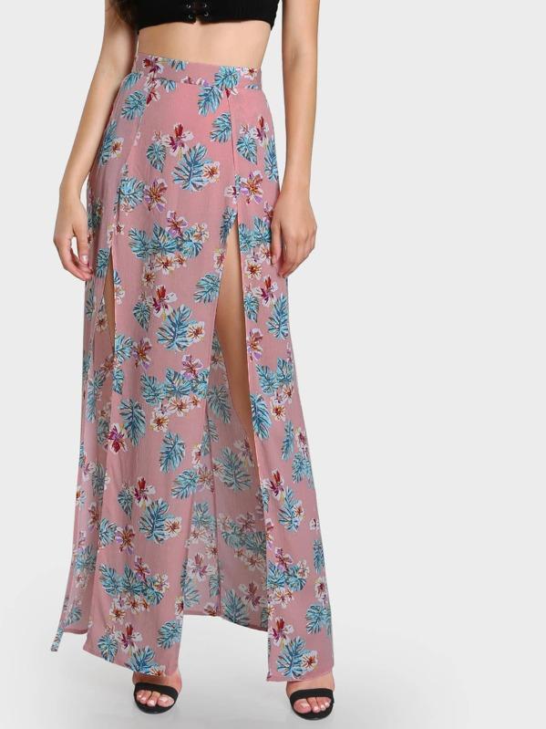 Falda larga con estampado de flor con abertura doble con shorts ... b376f0a402fd