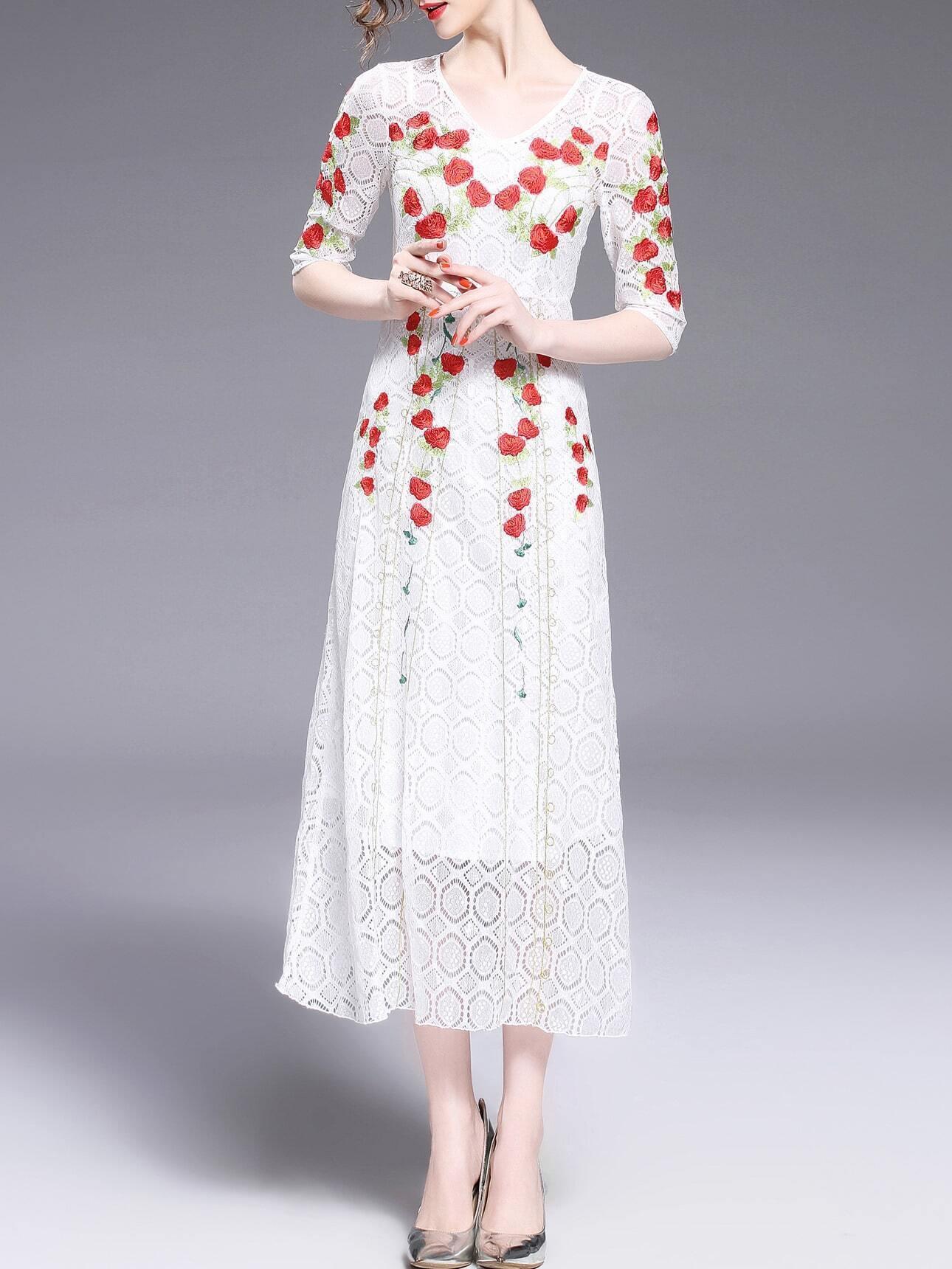 V neck rose embroidered lace dress shein sheinside