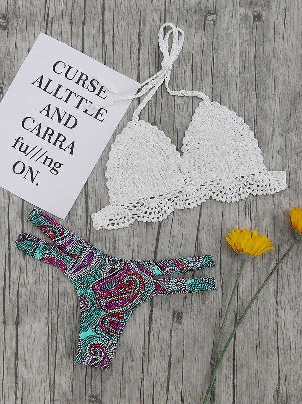Top Di Bikini Alluncinetto Con Slip Bikini Stampato Shein