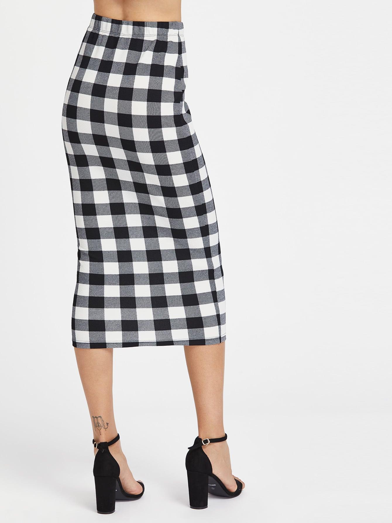 ee208b0565 Cheap Elasticized Waist Checkered Midi Pencil Skirt for sale ...