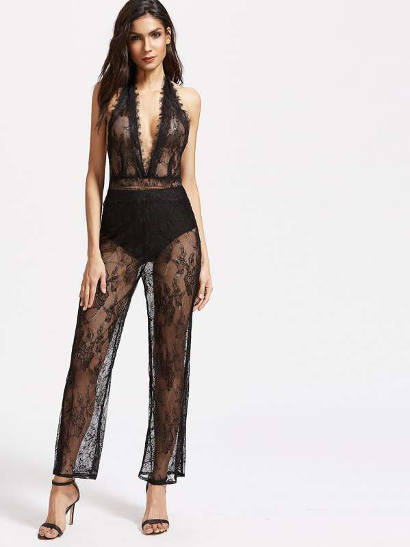 b953f5d7da9220 Deep Plunge Halter Backless Floral Lace Jumpsuit