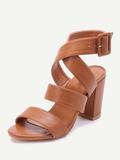 f26015542f046 PU Criss Cross Block Heels With Buckle -SheIn(Sheinside)