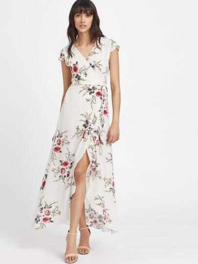 V Neckline Calico Print Slit Side Full Length Dress Shein