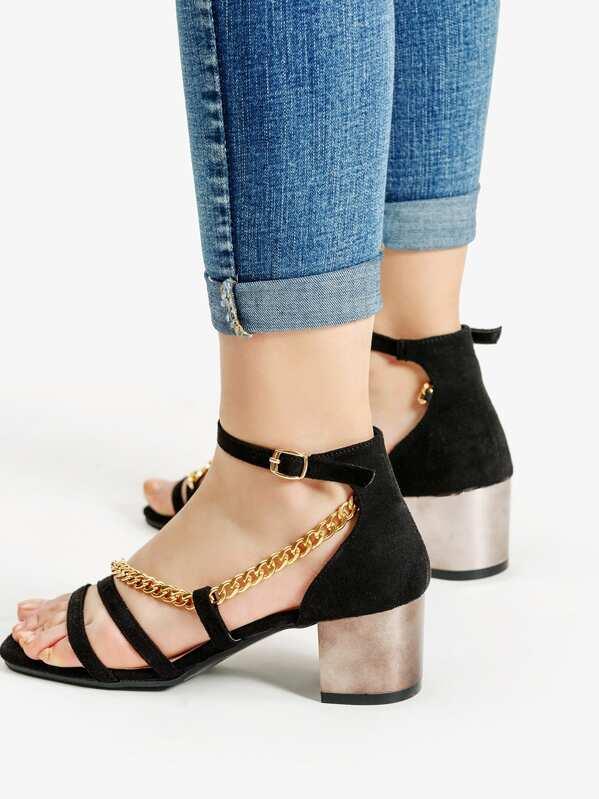 8c4aa7231bc84 Chain Design Block Heeled Sandals -SheIn(Sheinside)