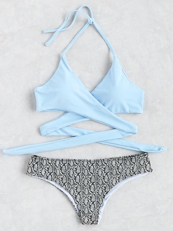 56190ac157ddf Wrap Halter Top With Snake Print Bikini Set