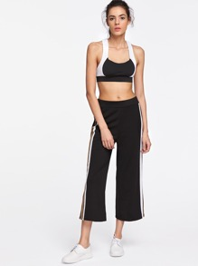 57c9fdaf99a78b Slit Side Stripe Cropped Palazzo Pants | SHEIN IN