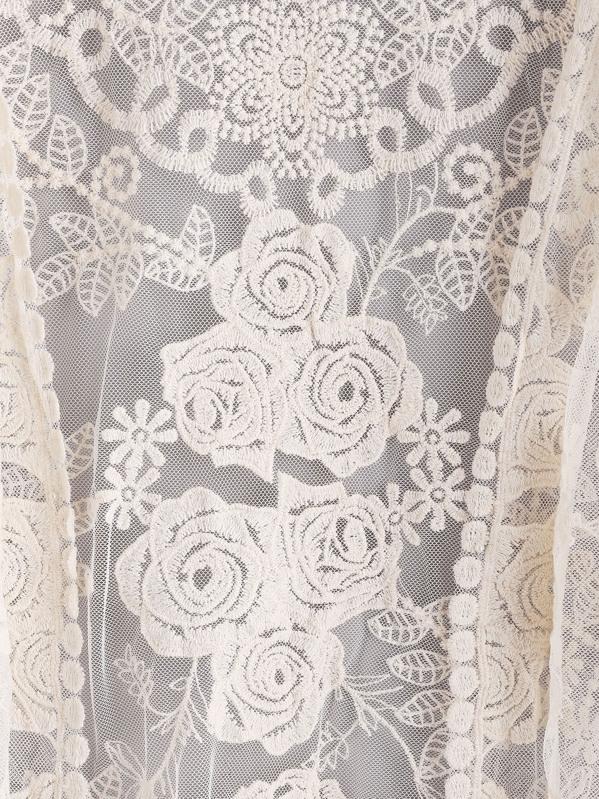 Kimono de encaje bordado de manga de volante-Spanish SheIn(Sheinside)