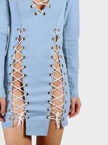 b698ce45dcd Cheap Lace Up Denim Bodycon Dress LIGHT BLUE for sale Australia