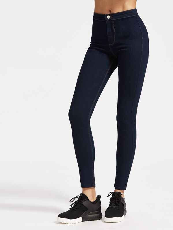 eed60a67abeb High Rise Skinny Jeans With Top Stitching | SHEIN UK