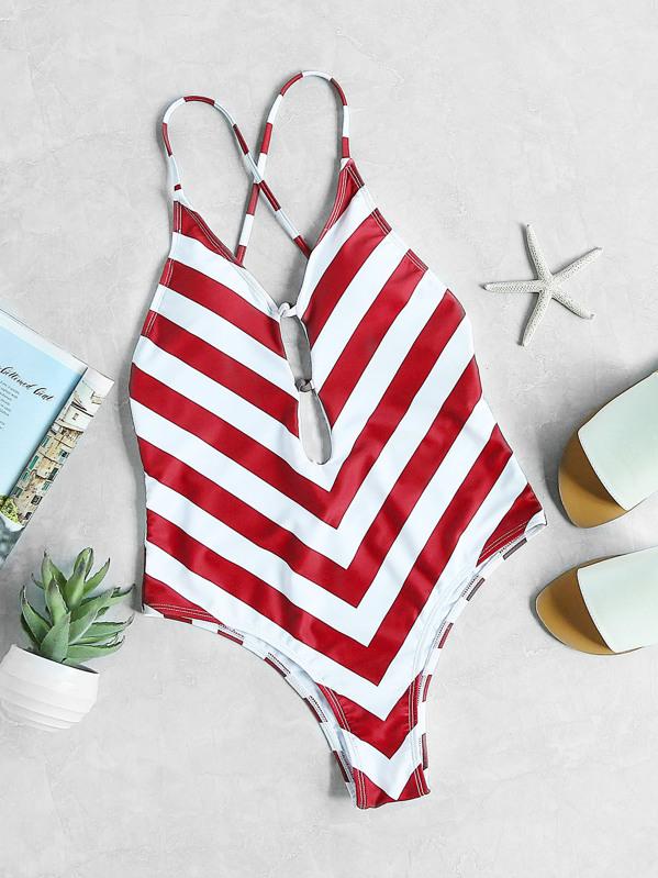 Chevron maillot de bain à motifs de V profond col avec des bandes  transversales - blanc rouge-French SheIn(Sheinside) 9a5b8bed29f2