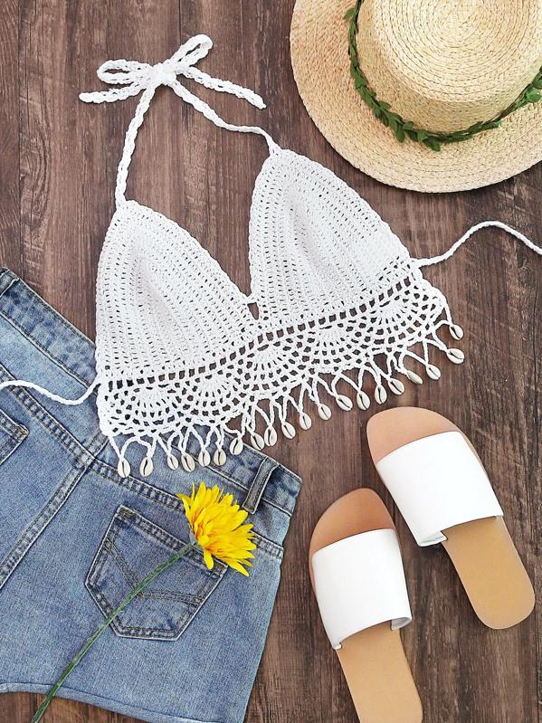 2d0c6053d5152 Shell Fringe Trim Self Tie Crochet Bralette