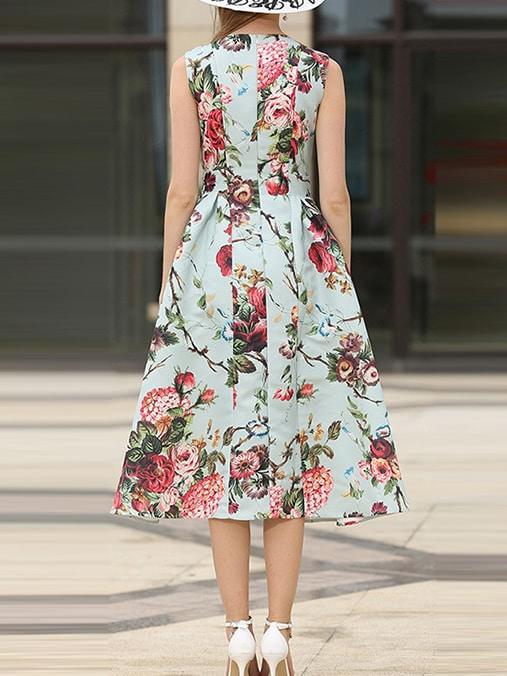 Rose Print A-Line Dress