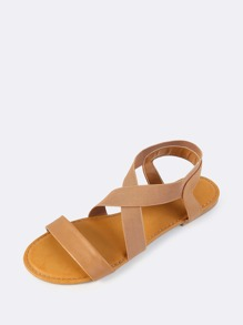 8bf37a0ab81b Cross Elastic Strap Sandals TAN