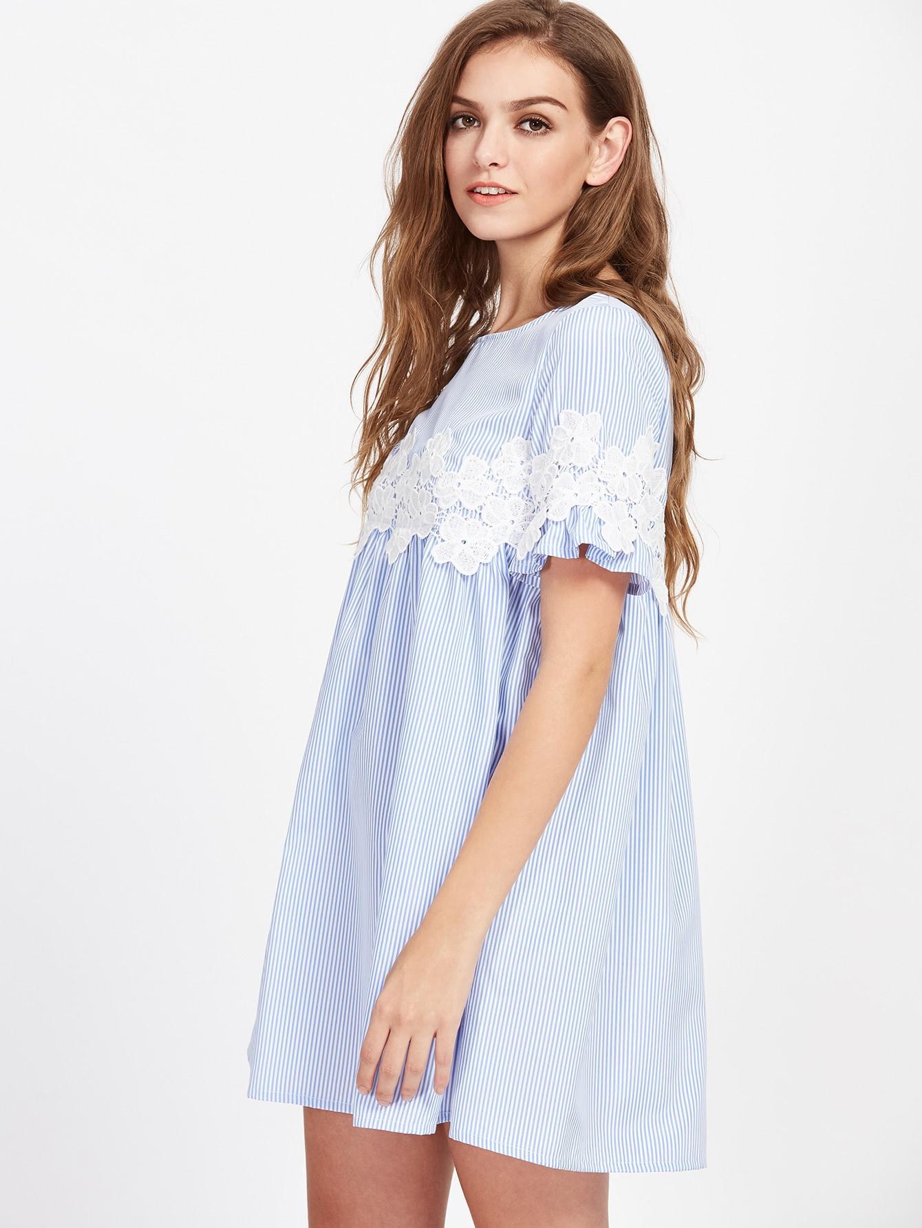 622e7790bf Guipure Lace Striped Smock Dress   SHEIN IN