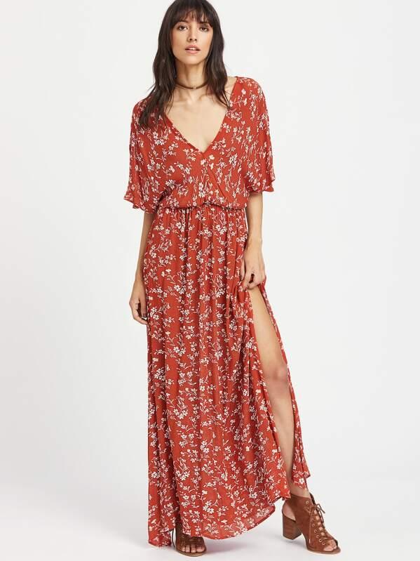 Plunging Tie Back Slit Ditsy Kimono Dress -SheIn(Sheinside)