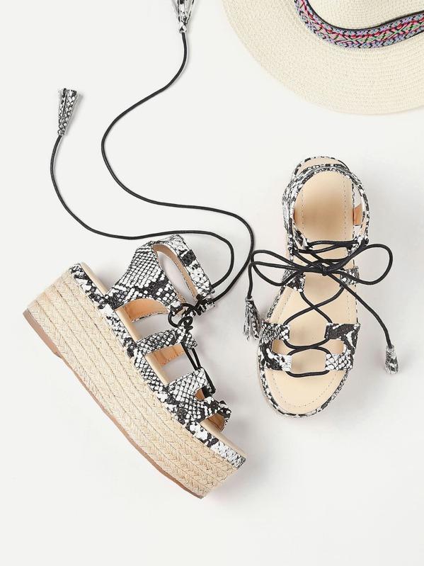 f3ef86dbc86 Snake Print Lace Up Espadrille Flatform Sandals