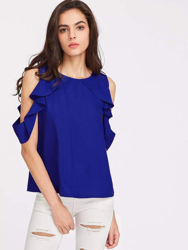 527c417c5af03 Button Closure Back Drape Ruffle Cold Shoulder Top
