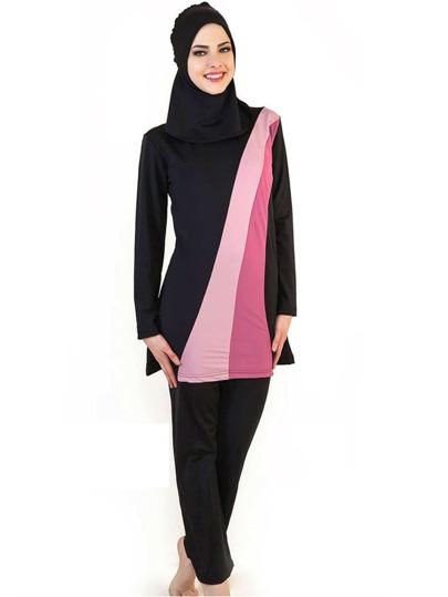 9b3cb4e015 Color Block Full Coverage Modest Swimwear 3 Piece | SHEIN