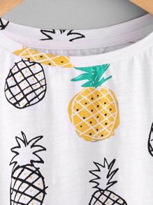 3b33fba47c Allover Pineapple Print Roll Cuff T-shirt | SHEIN
