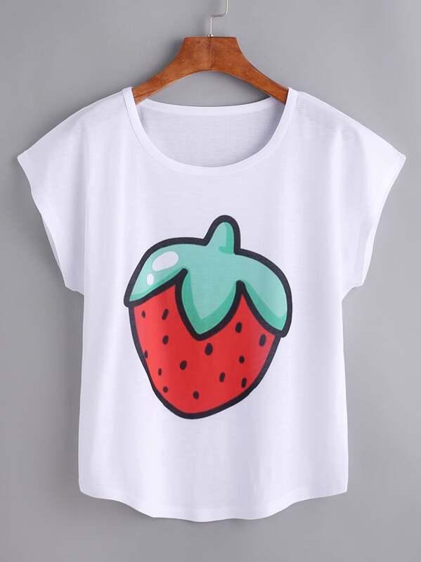 8873a19d1 Camiseta con estampado de fresa de manga de casuillo