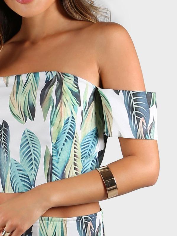 f82a95aee8 Leaf Print Bardot Crop Top and Shorts Set | SHEIN UK