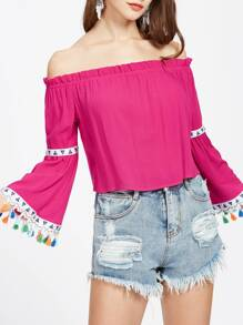 Bardot Embroidered Tape And Tassel Detail Top pictures